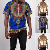 INCERUN African Dashiki Camisa Masculino Manga Curta Estilo Étnico Impresso com Zíper de Verão Casual Tops Roupas Tradicionais Camisas