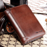 Men Genuine Leather RFID Blocking Secure Tri-fold Wallet