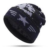 Mens Crimped Winter Plus Velvet Warm Slouchy Knit Hat
