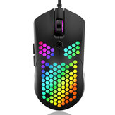 Free-wolf M5 Wired Game Mouse Breathing RGB Colorful Hollow Honeycomb Shape 12000DPI Gaming Mouse USB Wired Gamer Mus for stasjonær bærbar PC