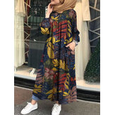Women Retro Floral Leaves Print Button Down Long Sleeve Maxi Shirt Dress With Pocket