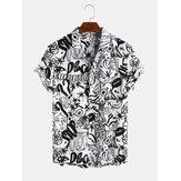 Personnage de dessin animé abstrait respirant à manches courtes chemises décontractées pour hommes femmes