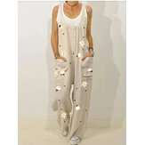 Flower Print Straps Button Loose Pocket Jumpsuits For Women