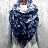 Женщины Plus Толщина бархата Цветочный Шаблон Модный повседневный зимний На открытом воздухе Теплый шарф Шаль