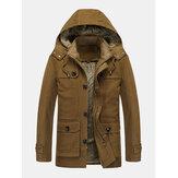 معطف رجالي من الصوف الدافئ مبطن بجيب سميك مغسول بقلنسوة عتيق