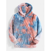 Mens Tie-Dye Kangaroo Pocket Fluffy Teddy Hoodies