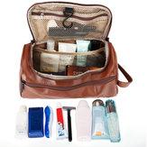 Deri Tuvalet Çanta Erkekler Büyük Tıraş Fırça Kozmetik Seyahat Kitleri Düzenleyici Kılıf