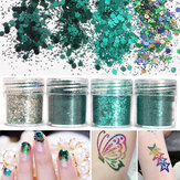 4 scatola 10ml Green Iridescent Chiodo Art Brillare Pellicola in polvere 1mm Sequins Sparkly Colorful Acrylic Tips
