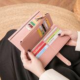 女性21カードスロット固体長財布財布電話バッグ
