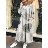 Women Leopard Print Round Neck Sied Pocket Loose Long Sleeve Robe Kaftan Shirt Dresses