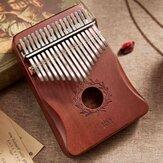 17 kluczowych rękawic Kciuk Fortepian Mahoń kalimbas Drewniany instrument akustyczny dla początkujących z akcesoriami