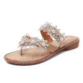 Pearl Flowers Shoes Casual Slippers