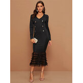 Long Sleeve V-neck Patchwork Solid Casual Maxi Dress For Women