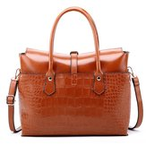 Women Fashion Retro Crocodile Handbag Briefcase Shoulder Bag