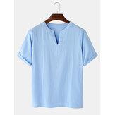 Lässige einfarbige Kurzarm-T-Shirts mit V-Ausschnitt und Baumwolle für Herren