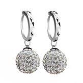 Silver Plated Zircon Ball Dangle Drop Hoop Earrings Women Jewelry