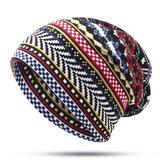 Women Bohemian Ethnic Multi-purpose Print Beanie Hat Scarf