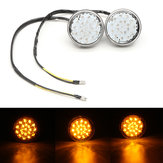 Pair 12V Universal Motorcycle Bike Round LED Turn Signal Indicator Blinker Light Lamp