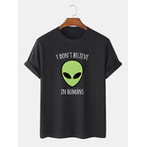 Mens 100% Cotton Alien Print Crew Neck Short Sleeve T-Shirts