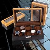 Retro 6/10/12 Slots Wooden Watch Box with Skylight Wristwatch Jewellery Display Collection Storage Box