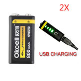 2PCS OKcell 9V 800mAh USB Rechargeable Lipo Battery for RC Helicopter Model Microphone