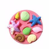 3D Silicona Conchas marinas Estrella de mar Caracol Marino Fondant Cake Chocolate Mold Mold Cake Decoration