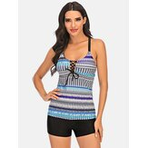 Plus Size Women Ethnic Print Front Bandage Criss-Cross Tankini Cover Belly Beachwear