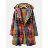 Women Colorful Plaid Open Front Double Pocket Casual Hooded Cardigan Coats