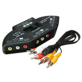3 selettore scatola dell'interruttore del video audio RCA AV composito splitter con cavi ft