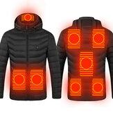 Casaco aquecido elétrico unissex 8 zonas de aquecimento USB Casaco com capuz quente de inverno