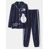 Женщины Allover Starry Sky Рисунок Принт Revere воротник Хлопковые пижамы с манжетами