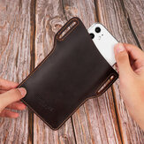 Men EDC Genuine Leather 6.5 Inch Phone Holder Sleeve Case Waist Belt Bag