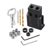 Drillpro 15pcs Pocket Hole Jig Kit 6/8/9.5mm Angle Drill Guide with Titanium Coated Drill Bits Woodworking Tool