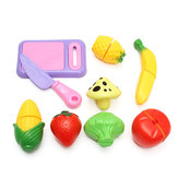 9PCS Plastic Cutting Vegetable Fruit Kitchen Food Pretend Play Toys Kid Gift Set