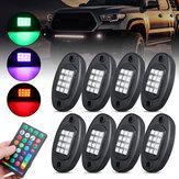 8 pezzi RGB LED ROCK Luce sotto il bagliore Voice Controller Fuoristrada Muti-car