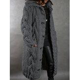 كارديجان نسائي سادة اللون جاكار محبوك بطول متوسط بقلنسوة مع جيب
