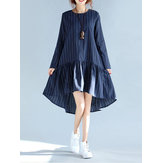 Casual Striped Swing Pleated Flounced Kvinder Kjoler
