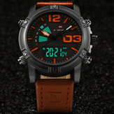 NAVIFORCE 9095 Fashion Sports Men Watch Casual Leather Band Sports Dual Movement Wristwatch