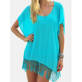 Women Tassel Patch Irregular Hem Bat Sleeve Translucent Sun Protection Cover Ups