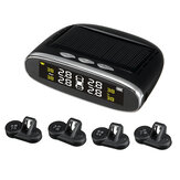 Solar Tire Pressure Monitor System TPMS Real-time Voice Prompts Tyre Tester with 4 External/ Internal Sensors