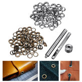 100pcs 6mm Brass Eyelets Silver Bronze Punch Tool Kit Leather Craft Clothes DIY Tools Kit