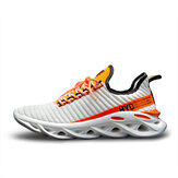 Men's Shock Absorption Sneakers Breathable Sports Shoes Flying Woven Hollow Blade Bottom Ultralight Leisure Footwear