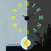 27/37/47インチローマ数字DIY発光壁時計アクリル壁時計3D無料パンチリビングルーム装飾