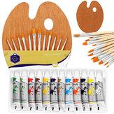 12 Renkler Boyama Boya Seti Boyama Fırça Ahşap Palet ile Set Kırtasiye Öğrenci Çizim Pigment Sanat Malzemeleri için