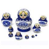 1 juego 10pcs muñecas rusas de madera pintado a mano babushka de anidación matryoshka presente regalo
