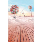 3 x 5ft Colorful Sky Balloon Wood Floor Studio Photography Backdrops Background