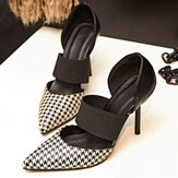Women Plaid Stripe Check Pointed Toe Slip On High Heel Pumps