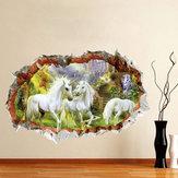 Miico 3D Creative Unicorno Rotto Muro Rimovibile Home Room Decorativo Wall Decor Sticker