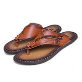 Men Genuine Leather Clip Toe Slippers