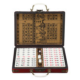 Portable Retro Mahjong Box Rare Chinese 144 Tiles Mah-Jong Set Funny Party Board Game Toy
